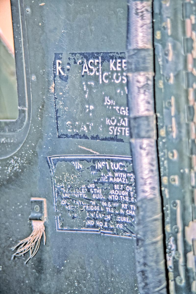 Tail Gun Turret Warning labels